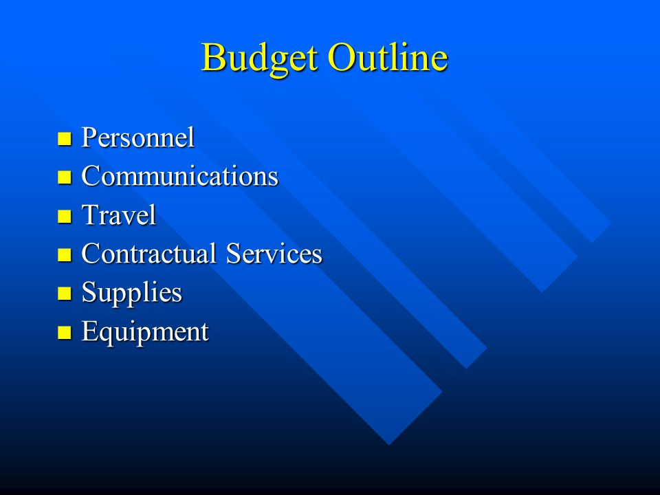 Budget Outline Personnel Personnel Communications Communications Travel Travel Contractual Services Contractual Services Supplies Supplies Equipment Equipment