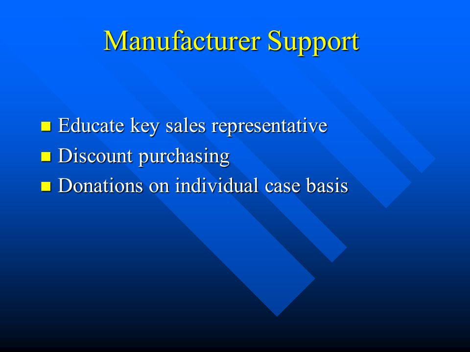 Manufacturer Support Educate key sales representative Educate key sales representative Discount purchasing Discount purchasing Donations on individual case basis Donations on individual case basis