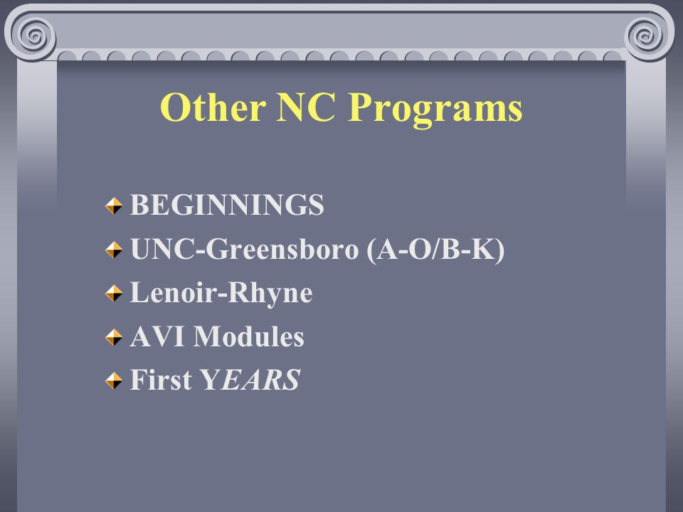 Other NC Programs BEGINNINGS UNC-Greensboro (A-O/B-K) Lenoir-Rhyne AVI Modules First YEARS