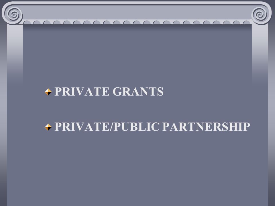 PRIVATE GRANTS PRIVATE/PUBLIC PARTNERSHIP