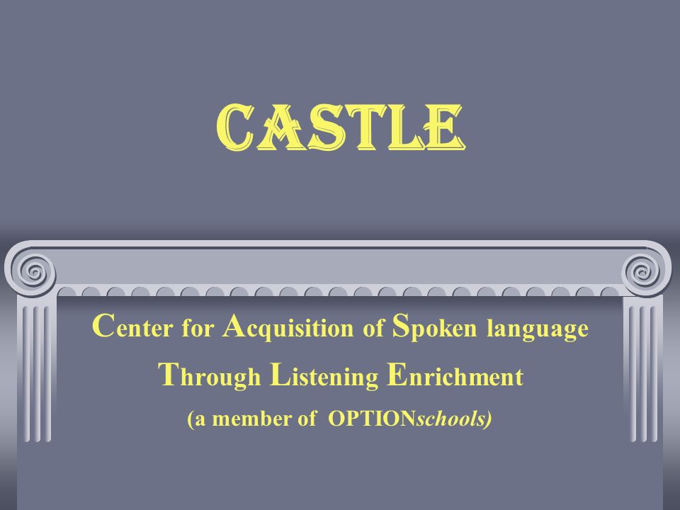 CASTLE C enter for A cquisition of S poken language T hrough L istening E nrichment (a member of OPTIONschools)