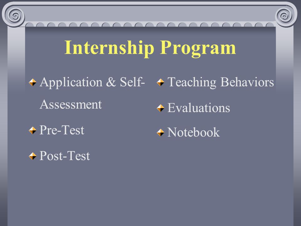 Internship Program Application & Self- Assessment Pre-Test Post-Test Teaching Behaviors Evaluations Notebook