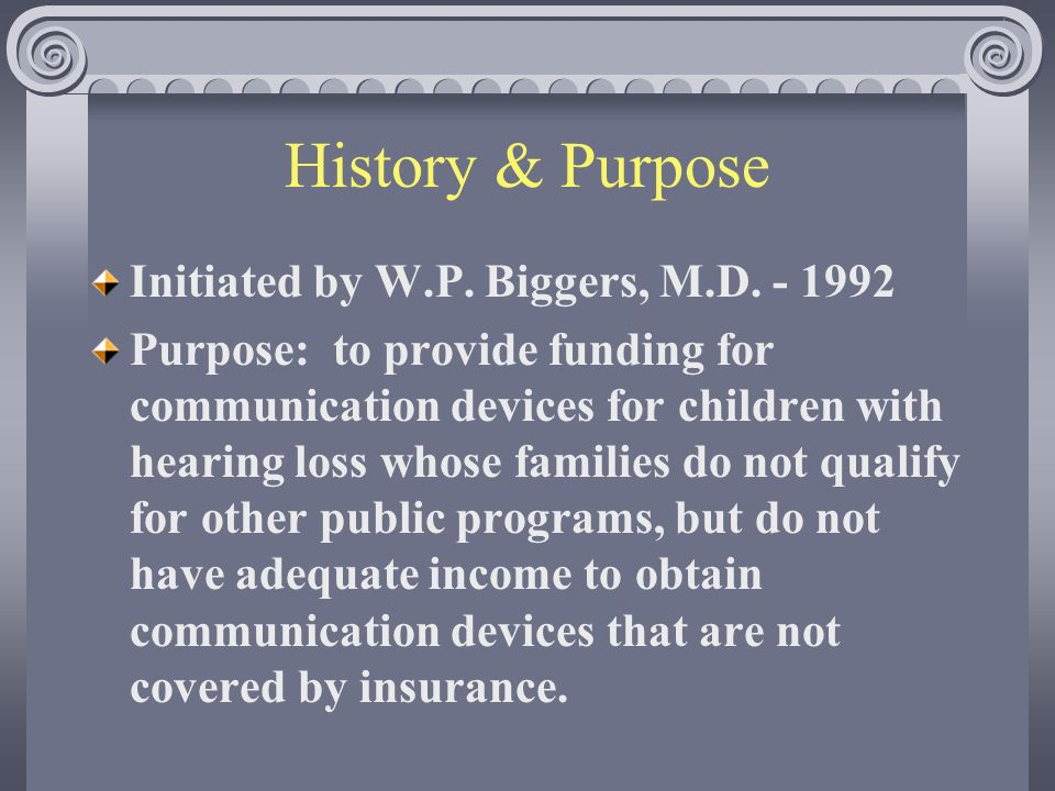 History & Purpose Initiated by W.P. Biggers, M.D.