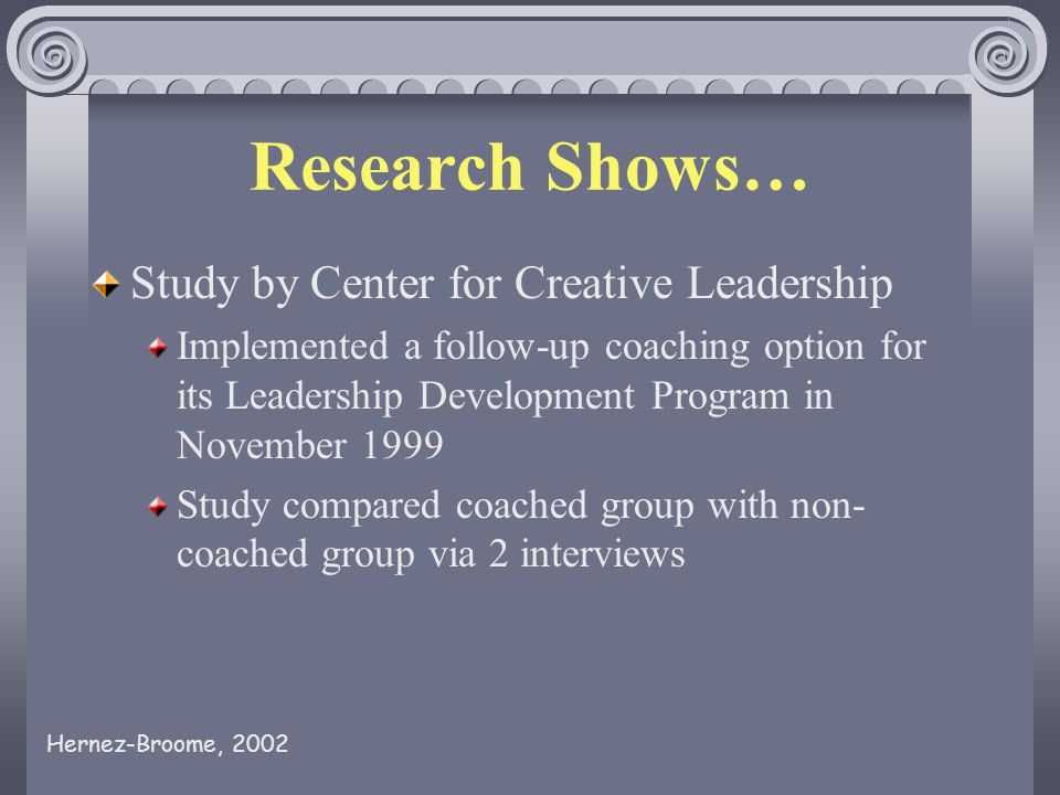 Research Shows… Study by Center for Creative Leadership Implemented a follow-up coaching option for its Leadership Development Program in November 1999 Study compared coached group with non- coached group via 2 interviews Hernez-Broome, 2002