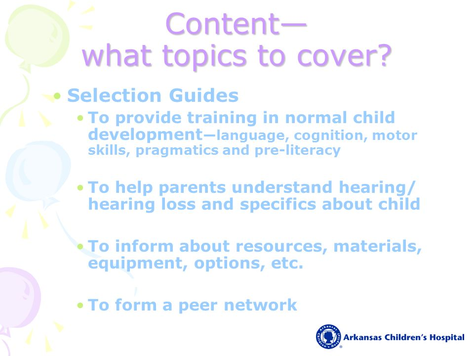 Content what topics to cover.