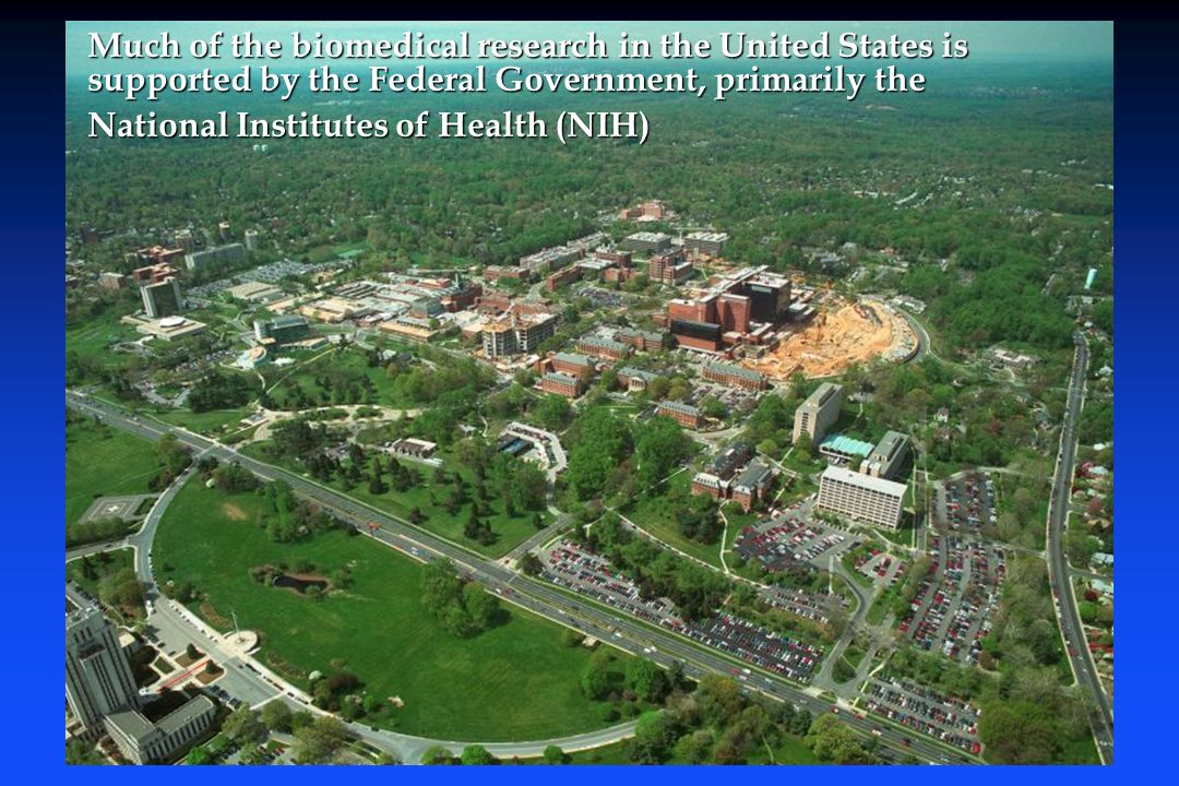Much of the biomedical research in the United States is supported by the Federal Government, primarily the Much of the biomedical research in the United States is supported by the Federal Government, primarily the National Institutes of Health (NIH) National Institutes of Health (NIH)