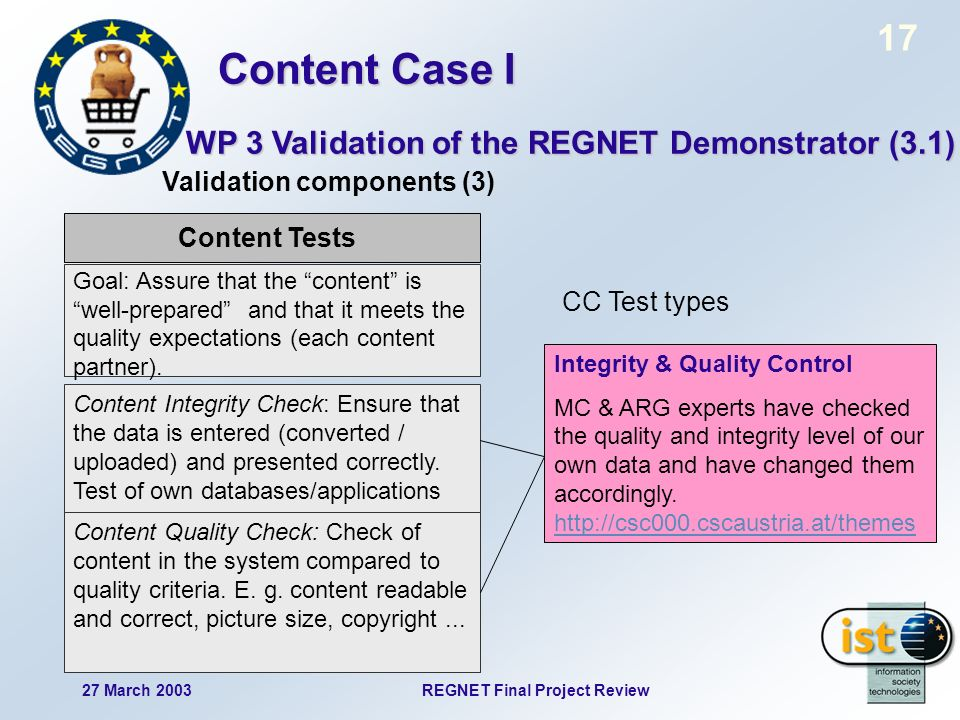 17 27 March 2003REGNET Final Project Review Content Tests Goal: Assure that the content is well-prepared and that it meets the quality expectations (e