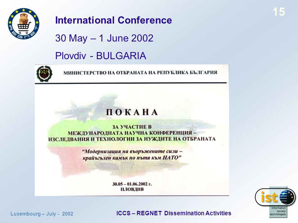 Luxembourg – July ICCS – REGNET Dissemination Activities 15 International Conference 30 May – 1 June 2002 Plovdiv - BULGARIA