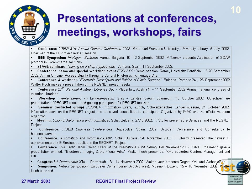 27 March 2003REGNET Final Project Review 10 Presentations at conferences, meetings, workshops, fairs