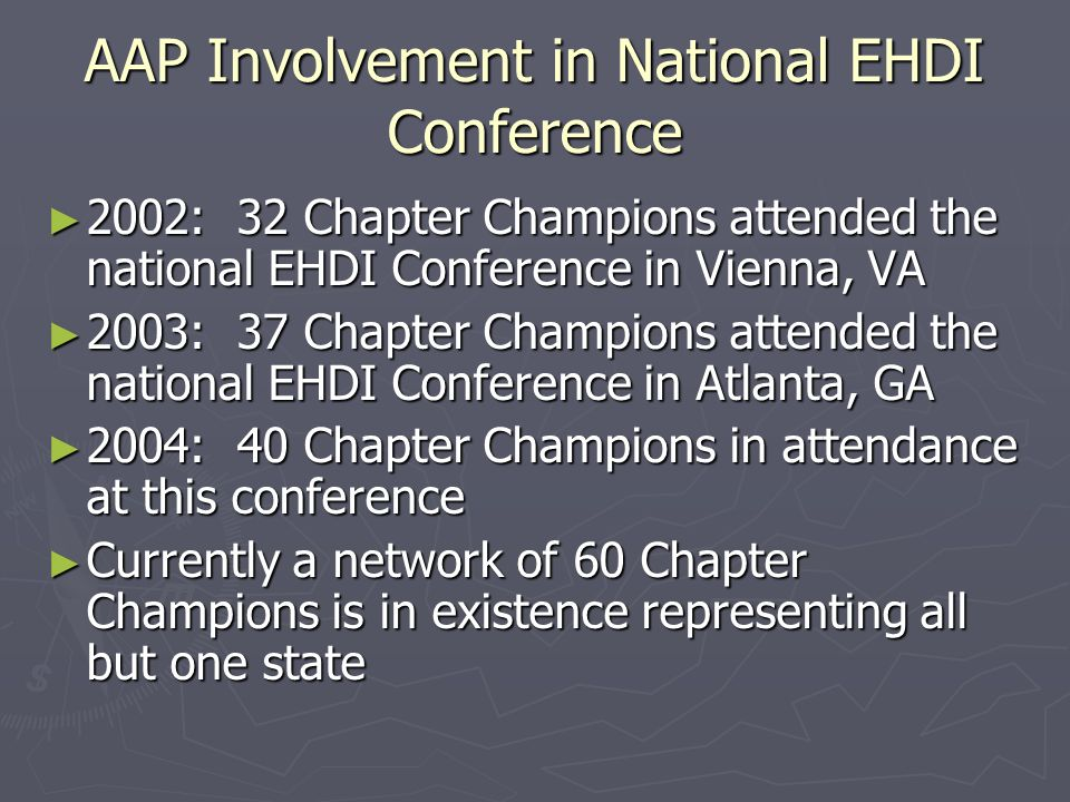 AAP Involvement in National EHDI Conference 2002: 32 Chapter Champions attended the national EHDI Conference in Vienna, VA 2002: 32 Chapter Champions attended the national EHDI Conference in Vienna, VA 2003: 37 Chapter Champions attended the national EHDI Conference in Atlanta, GA 2003: 37 Chapter Champions attended the national EHDI Conference in Atlanta, GA 2004: 40 Chapter Champions in attendance at this conference 2004: 40 Chapter Champions in attendance at this conference Currently a network of 60 Chapter Champions is in existence representing all but one state Currently a network of 60 Chapter Champions is in existence representing all but one state