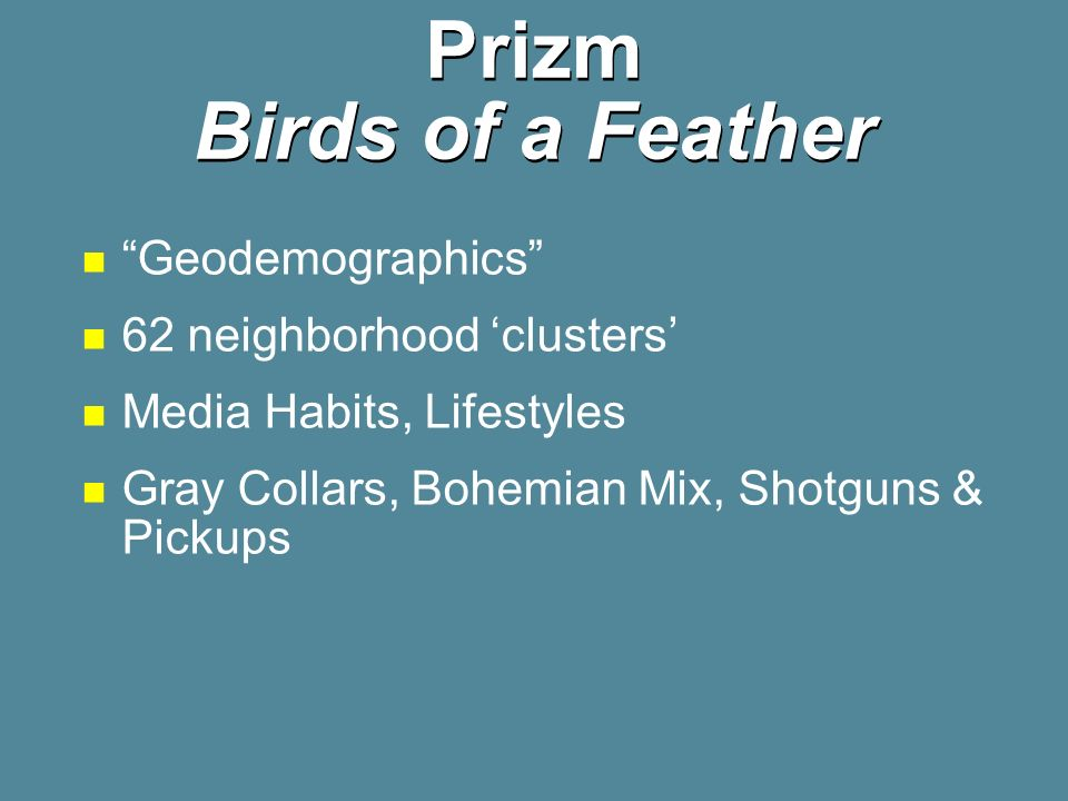 Prizm Birds of a Feather Geodemographics 62 neighborhood clusters Media Habits, Lifestyles Gray Collars, Bohemian Mix, Shotguns & Pickups
