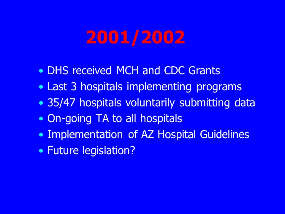 2001/2002 DHS received MCH and CDC Grants Last 3 hospitals implementing programs 35/47 hospitals voluntarily submitting data On-going TA to all hospitals Implementation of AZ Hospital Guidelines Future legislation