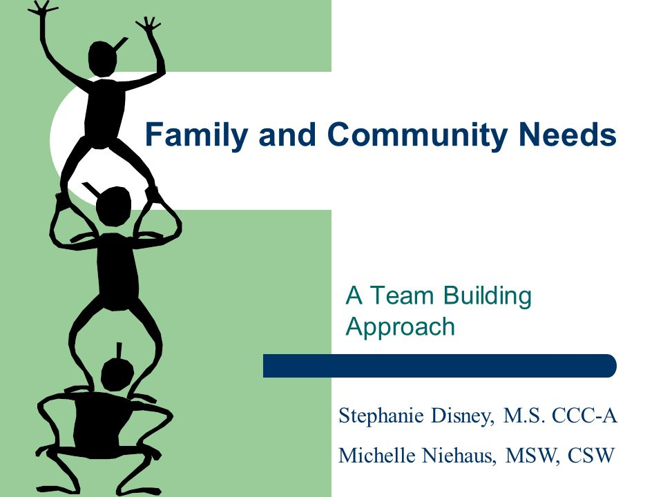 Family and Community Needs A Team Building Approach Stephanie Disney, M.S.