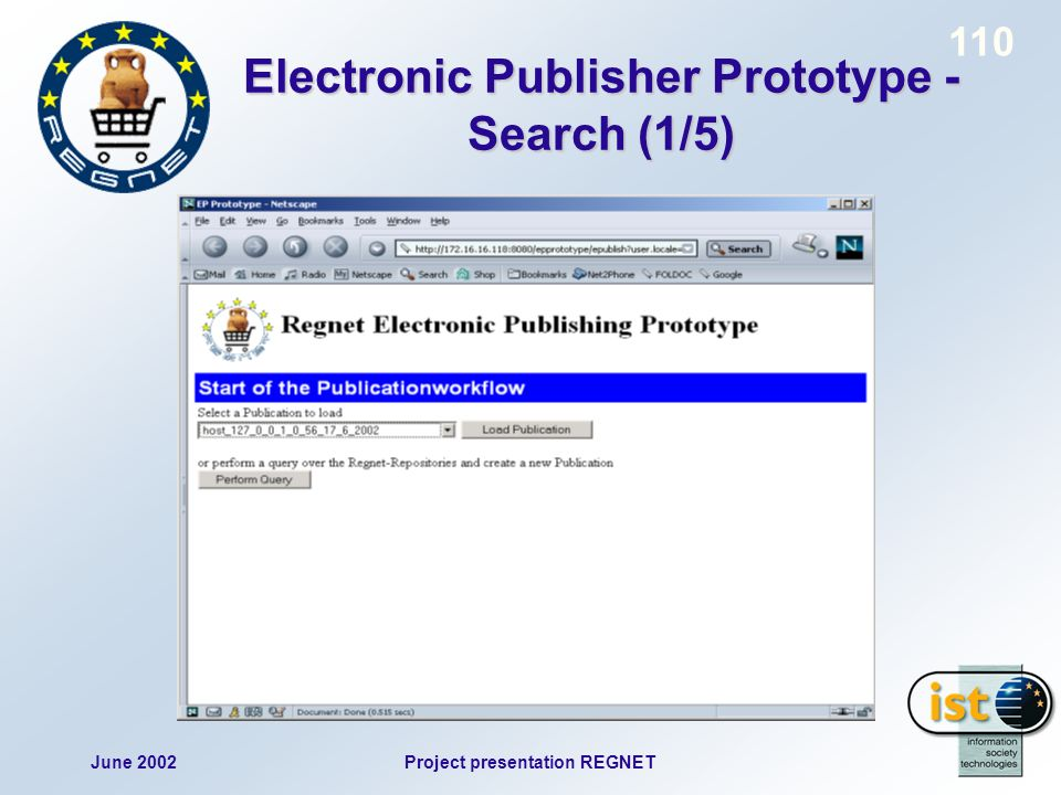 June 2002Project presentation REGNET 110 Electronic Publisher Prototype - Search (1/5)