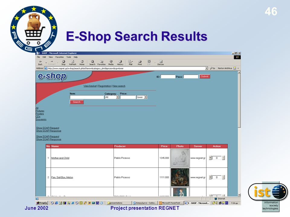 June 2002Project presentation REGNET 46 E-Shop Search Results