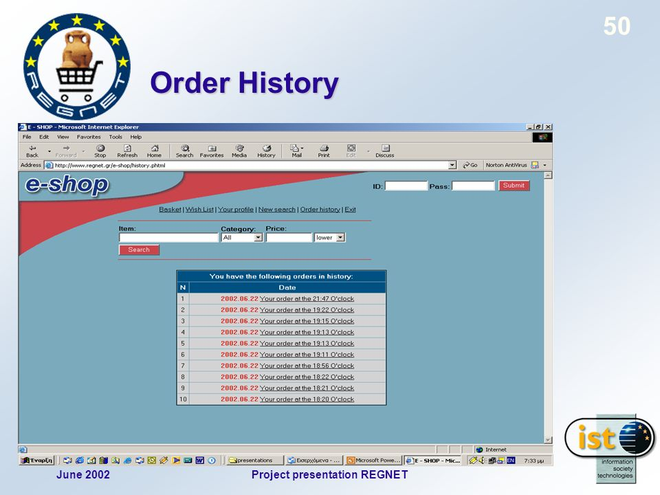 June 2002Project presentation REGNET 50 Order History