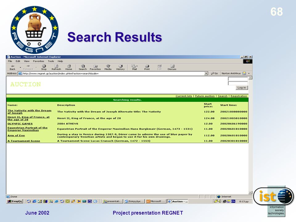 June 2002Project presentation REGNET 68 Search Results