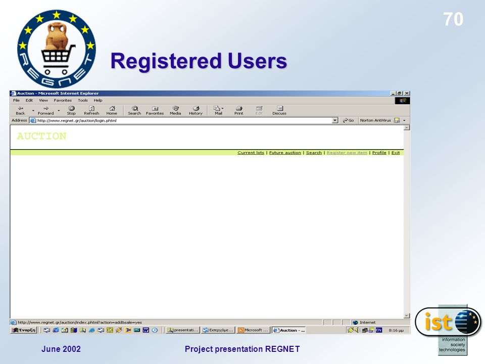June 2002Project presentation REGNET 70 Registered Users