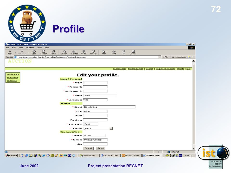 June 2002Project presentation REGNET 72 Profile
