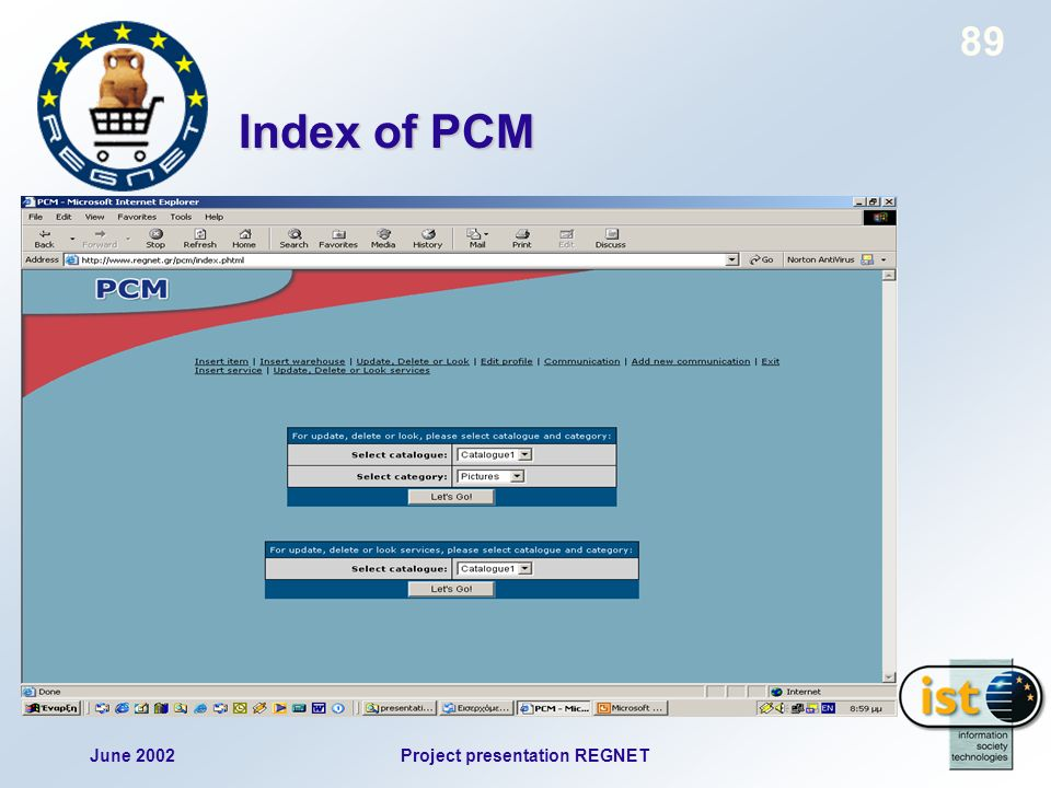 June 2002Project presentation REGNET 89 Index of PCM
