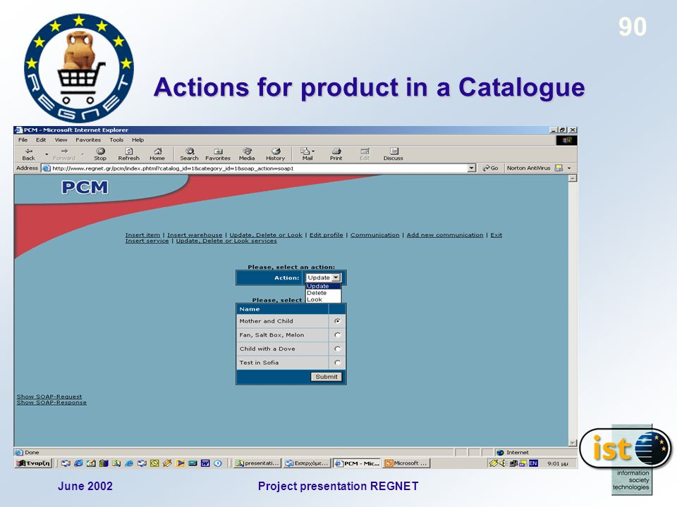 June 2002Project presentation REGNET 90 Actions for product in a Catalogue