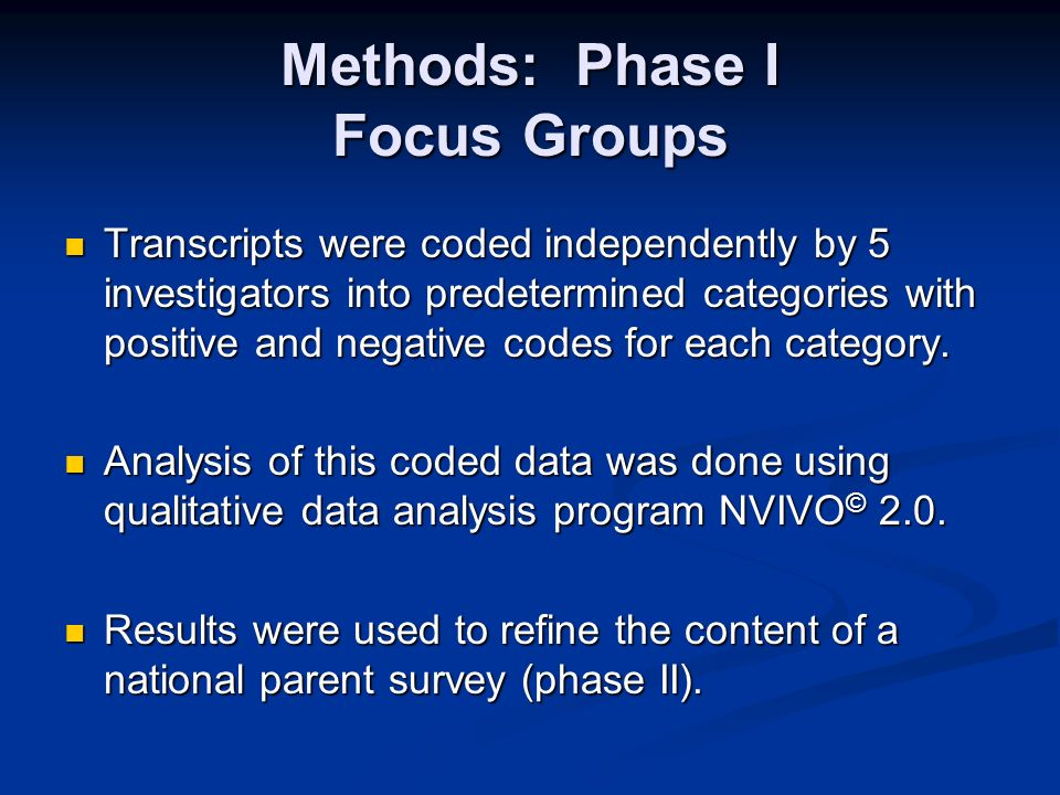 Methods: Phase I Focus Groups Transcripts were coded independently by 5 investigators into predetermined categories with positive and negative codes for each category.