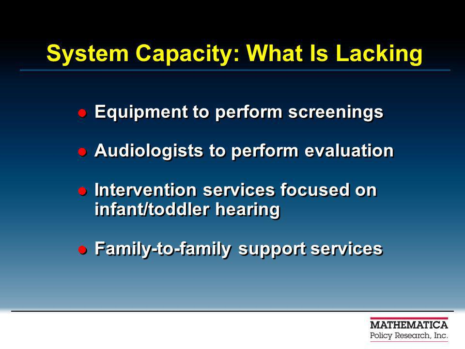 System Capacity: What Is Lacking Equipment to perform screenings Audiologists to perform evaluation Intervention services focused on infant/toddler hearing Family-to-family support services Equipment to perform screenings Audiologists to perform evaluation Intervention services focused on infant/toddler hearing Family-to-family support services