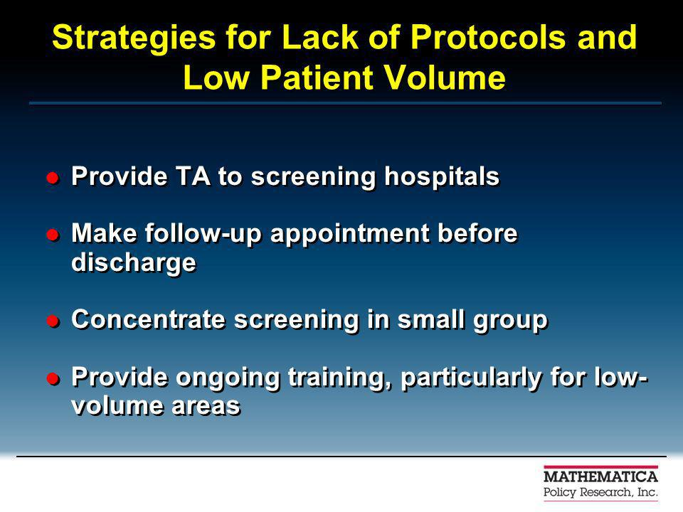Strategies for Lack of Protocols and Low Patient Volume Provide TA to screening hospitals Make follow-up appointment before discharge Concentrate screening in small group Provide ongoing training, particularly for low- volume areas Provide TA to screening hospitals Make follow-up appointment before discharge Concentrate screening in small group Provide ongoing training, particularly for low- volume areas
