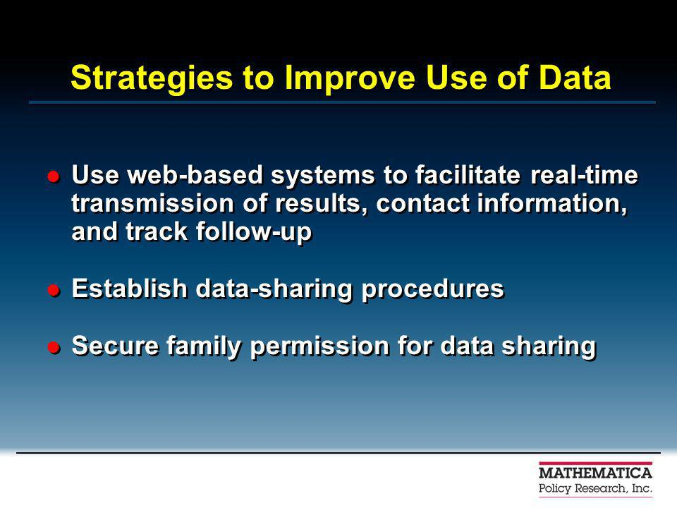 Strategies to Improve Use of Data Use web-based systems to facilitate real-time transmission of results, contact information, and track follow-up Establish data-sharing procedures Secure family permission for data sharing Use web-based systems to facilitate real-time transmission of results, contact information, and track follow-up Establish data-sharing procedures Secure family permission for data sharing