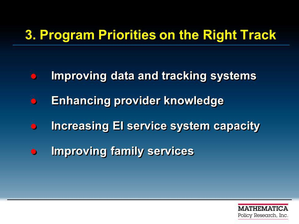3. Program Priorities on the Right Track Improving data and tracking systems Enhancing provider knowledge Increasing EI service system capacity Improv