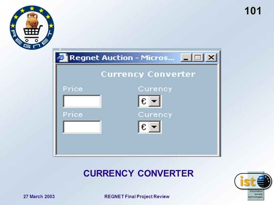 27 March 2003REGNET Final Project Review 101 CURRENCY CONVERTER