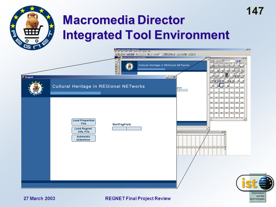 27 March 2003REGNET Final Project Review 147 Macromedia Director Integrated Tool Environment