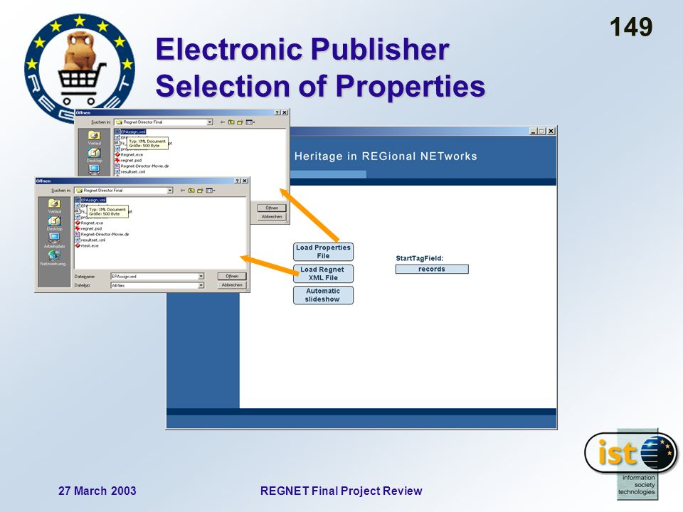 27 March 2003REGNET Final Project Review 149 Electronic Publisher Selection of Properties