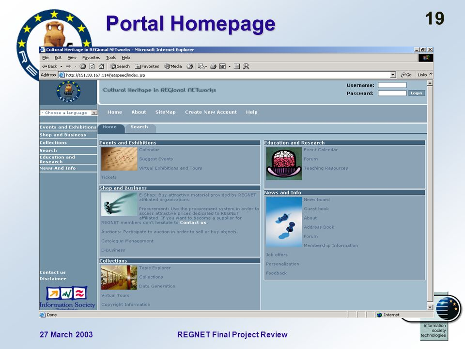 27 March 2003REGNET Final Project Review 19 Portal Homepage
