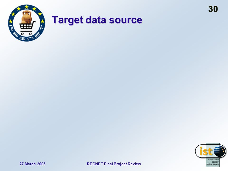 27 March 2003REGNET Final Project Review 30 Target data source
