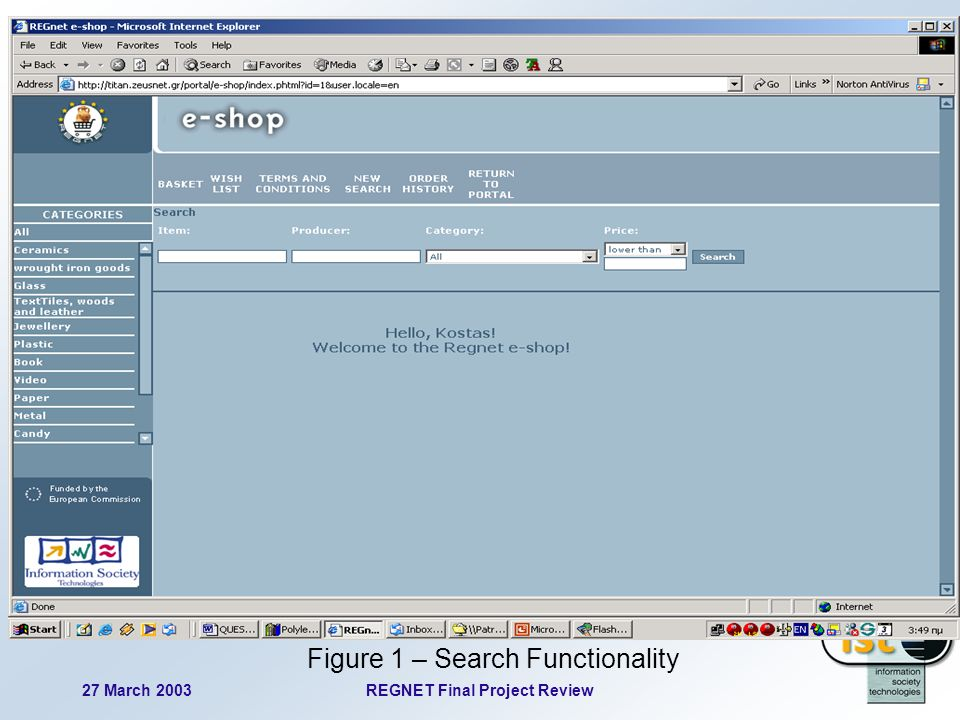 27 March 2003REGNET Final Project Review 56 Figure 1 – Search Functionality