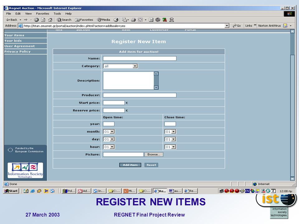 27 March 2003REGNET Final Project Review 98 REGISTER NEW ITEMS