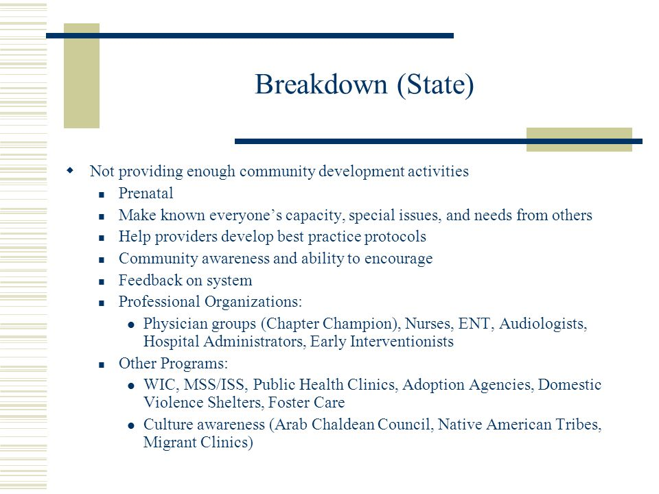 Breakdown (State) Not providing enough community development activities Prenatal Make known everyones capacity, special issues, and needs from others Help providers develop best practice protocols Community awareness and ability to encourage Feedback on system Professional Organizations: Physician groups (Chapter Champion), Nurses, ENT, Audiologists, Hospital Administrators, Early Interventionists Other Programs: WIC, MSS/ISS, Public Health Clinics, Adoption Agencies, Domestic Violence Shelters, Foster Care Culture awareness (Arab Chaldean Council, Native American Tribes, Migrant Clinics)