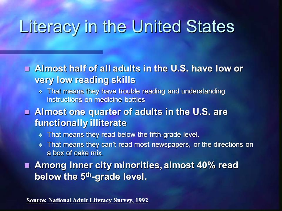 Literacy in the United States Almost half of all adults in the U.S. have low or very low reading skills Almost half of all adults in the U.S. have low