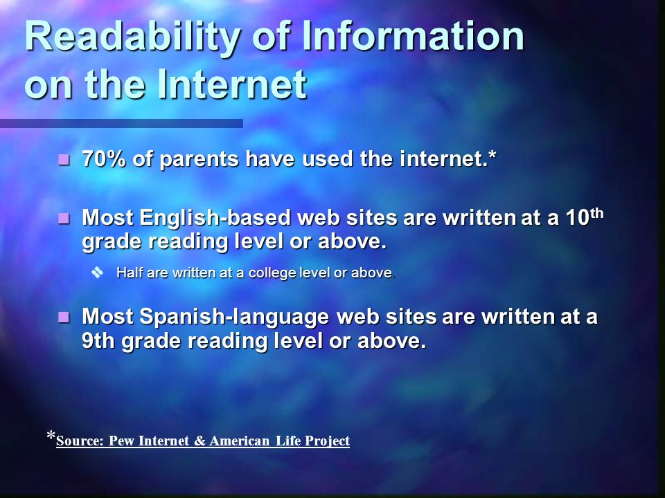 Readability of Information on the Internet 70% of parents have used the internet.* 70% of parents have used the internet.* Most English-based web sites are written at a 10 th grade reading level or above.