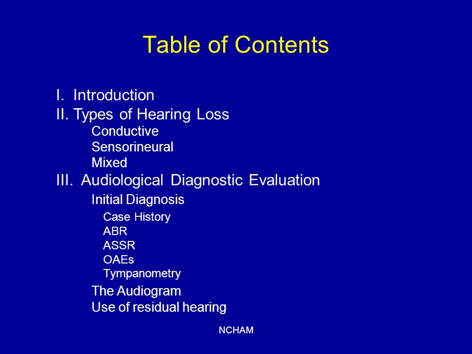 NCHAM Table of Contents IV.Sensory devices Hearing Aids FM Systems Cochlear Implants V.