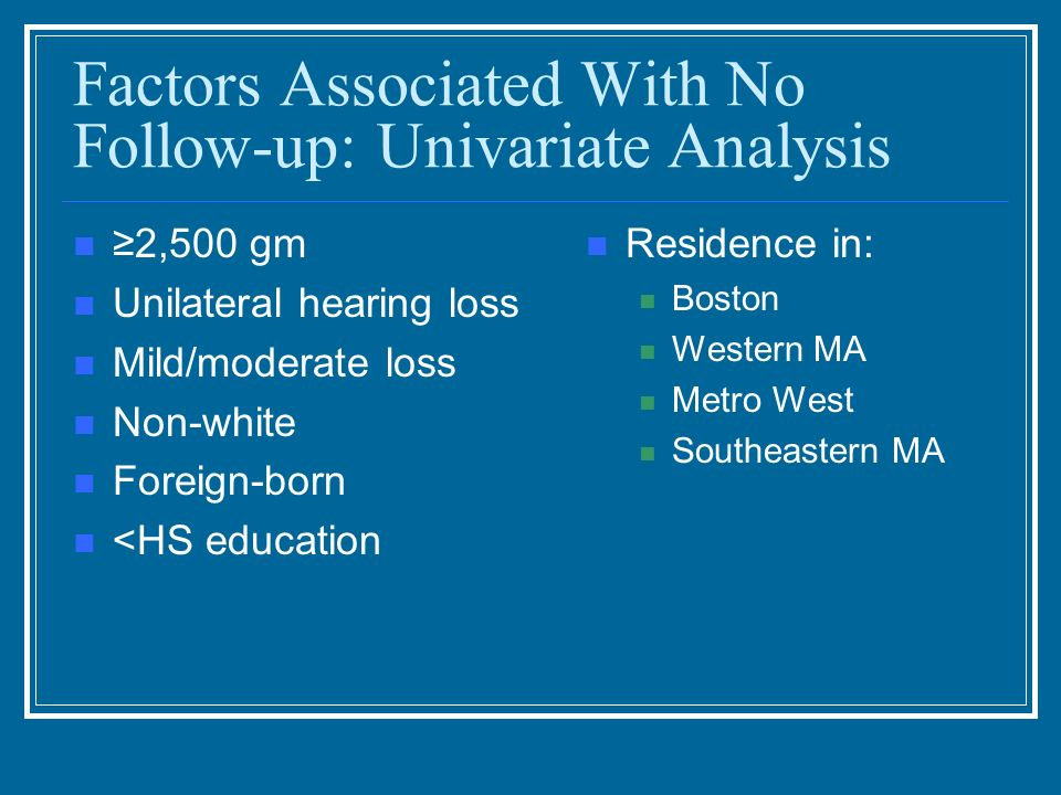 Factors Associated With No Follow-up: Univariate Analysis 2,500 gm Unilateral hearing loss Mild/moderate loss Non-white Foreign-born <HS education Res