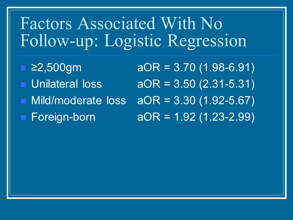 Factors Associated With No Follow-up: Logistic Regression 2,500gmaOR = 3.70 (1.98-6.91) Unilateral lossaOR = 3.50 (2.31-5.31) Mild/moderate lossaOR =