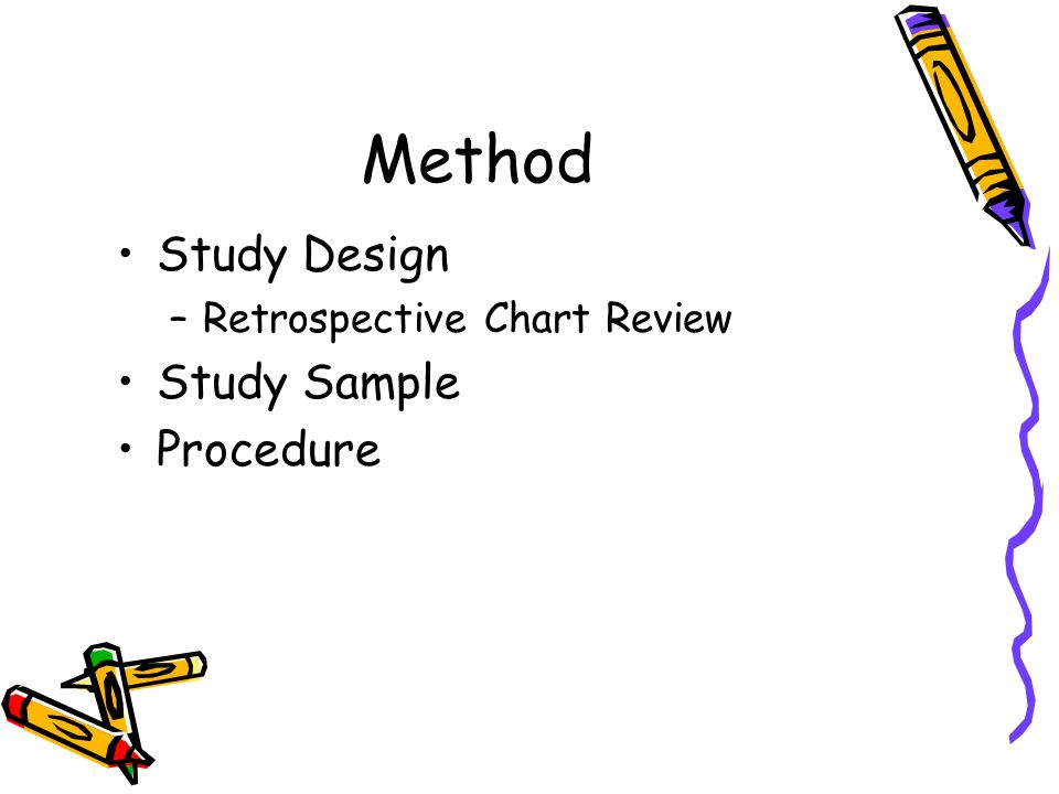 Method Study Design –Retrospective Chart Review Study Sample Procedure