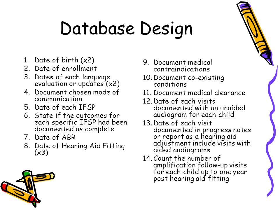 Database Design 1.Date of birth (x2) 2.Date of enrollment 3.Dates of each language evaluation or updates (x2) 4.Document chosen mode of communication 5.Date of each IFSP 6.State if the outcomes for each specific IFSP had been documented as complete 7.Date of ABR 8.Date of Hearing Aid Fitting (x3) 9.Document medical contraindications 10.Document co-existing conditions 11.Document medical clearance 12.Date of each visits documented with an unaided audiogram for each child 13.Date of each visit documented in progress notes or report as a hearing aid adjustment include visits with aided audiograms 14.Count the number of amplification follow-up visits for each child up to one year post hearing aid fitting