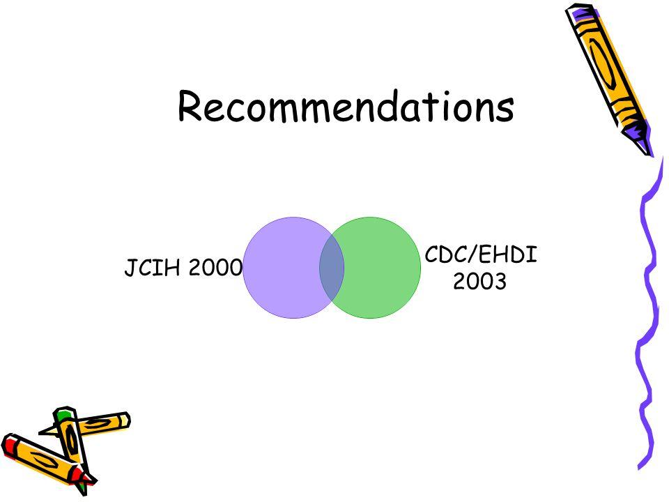 Recommendations JCIH 2000 CDC/EHDI 2003