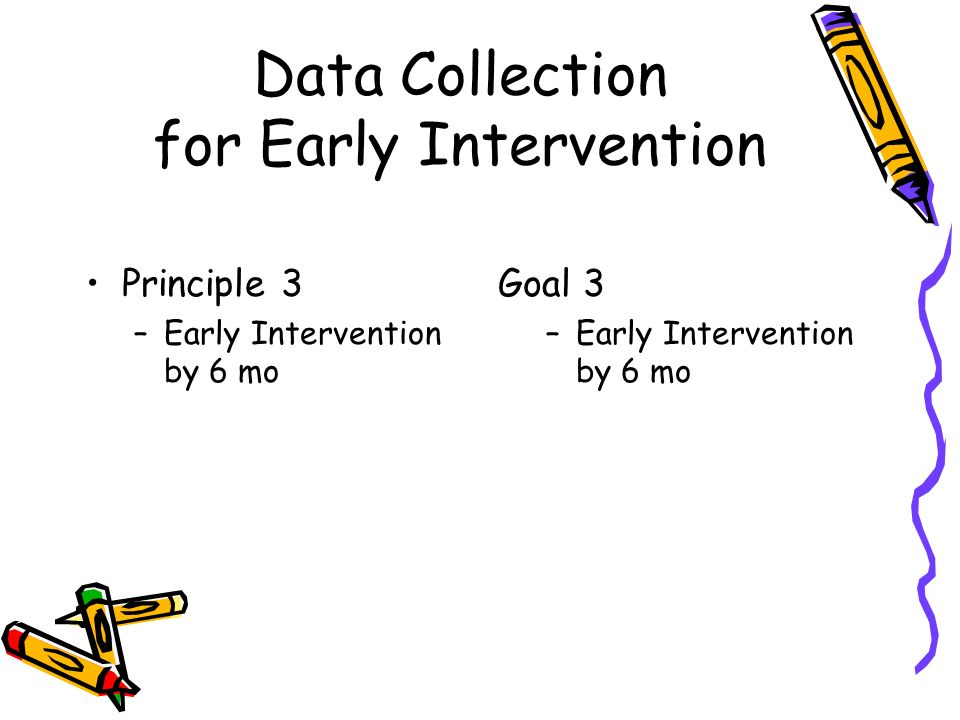 Data Collection for Early Intervention Principle 3 –Early Intervention by 6 mo Goal 3 –Early Intervention by 6 mo