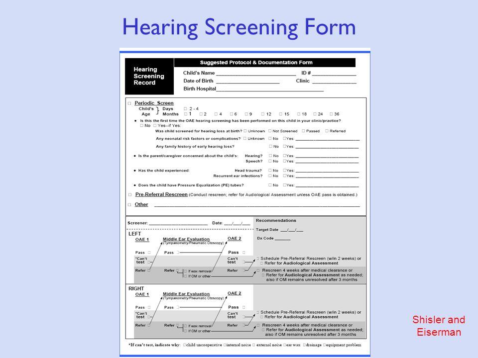 Shisler and Eiserman Hearing Screening Form