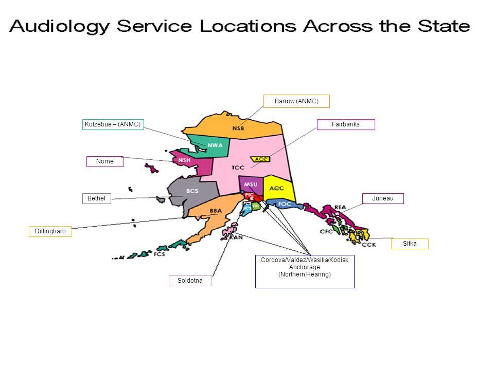 Barrow (ANMC) Fairbanks Juneau Sitka Cordova/Valdez/Wasilla/Kodiak Anchorage (Northern Hearing) Soldotna Dillingham Bethel Nome Kotzebue – (ANMC)