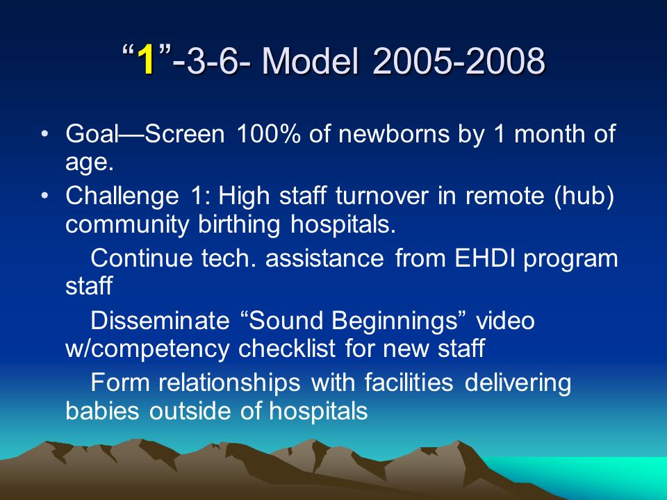 1- 3-6- Model 2005-20081- 3-6- Model 2005-2008 GoalScreen 100% of newborns by 1 month of age.